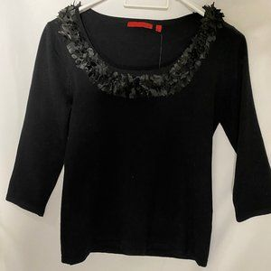 Black Knit Sweater with unique ruffle on collar